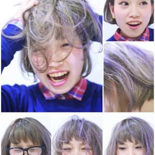 ストリート ボブ パープル ワンレングス ヘアスタイルや髪型の写真・画像