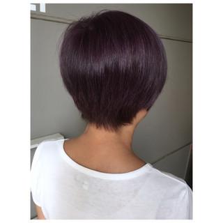 ピンクパープル ショートボブ ショートヘア ショート ヘアスタイルや髪型の写真・画像