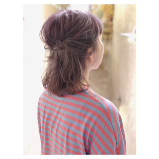 透明感 ミディアム ストリート ヘアアレンジ ヘアスタイルや髪型の写真・画像 ヘアスタイルや髪型の写真・画像