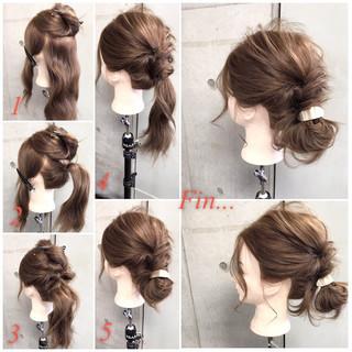 ヘアアレンジ ナチュラル セミロング フェミニン ヘアスタイルや髪型の写真・画像