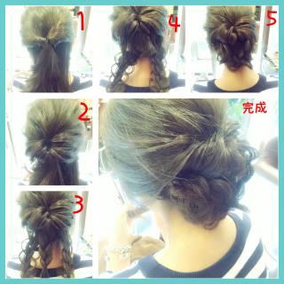 セミロング ショート 簡単ヘアアレンジ ヘアアレンジ ヘアスタイルや髪型の写真・画像