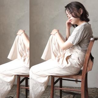 ミニボブ くすみカラー 透明感カラー ボブ ヘアスタイルや髪型の写真・画像