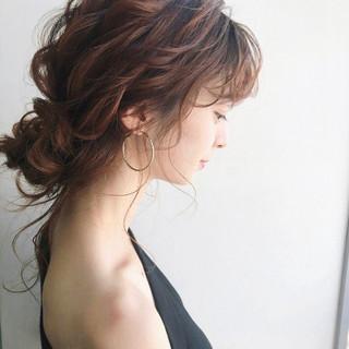 アンニュイほつれヘア ガーリー 簡単ヘアアレンジ ミディアム ヘアスタイルや髪型の写真・画像