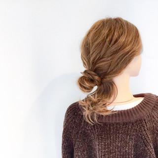 簡単ヘアアレンジ デート フェミニン セミロング ヘアスタイルや髪型の写真・画像