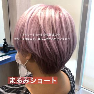 ピンク ガーリー ピンクベージュ ショート ヘアスタイルや髪型の写真・画像
