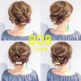 デート ボブ 上品 簡単ヘアアレンジ ヘアスタイルや髪型の写真・画像