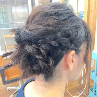 ヘアアレンジ 波ウェーブ くるりんぱ 結婚式 ヘアスタイルや髪型の写真・画像