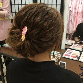 結婚式 ナチュラル ヘアアレンジ ミディアム ヘアスタイルや髪型の写真・画像