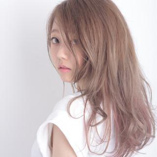 ピンク モーブ 大人かわいい ロング ヘアスタイルや髪型の写真・画像
