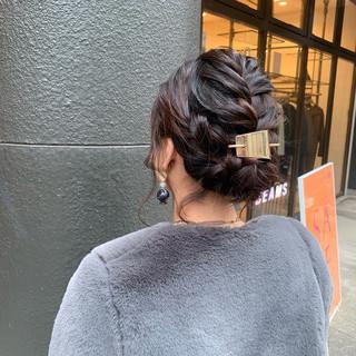 簡単ヘアアレンジ ナチュラル ミディアム 編み込みヘア ヘアスタイルや髪型の写真・画像
