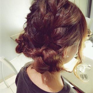 ガーリー 簡単ヘアアレンジ ゆるふわ ミディアム ヘアスタイルや髪型の写真・画像