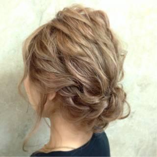 簡単ヘアアレンジ ショート 編み込み アップスタイル ヘアスタイルや髪型の写真・画像