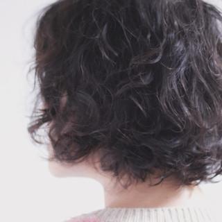 無造作パーマ ナチュラル パーマ ボブ ヘアスタイルや髪型の写真・画像