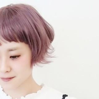 ピンクアッシュ ハイトーン マッシュ ラベンダーピンク ヘアスタイルや髪型の写真・画像