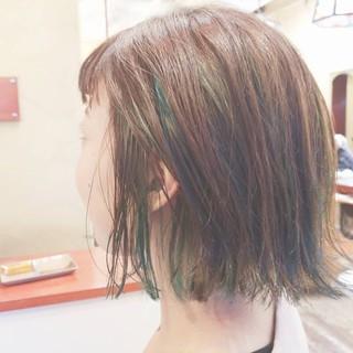 ダブルカラー ボブ アディクシーカラー インナーカラー ヘアスタイルや髪型の写真・画像