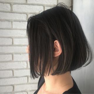 オリーブアッシュ ボブ アッシュグレージュ 黒髪 ヘアスタイルや髪型の写真・画像