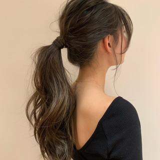 ロング ヘアアレンジ ハイライト デート ヘアスタイルや髪型の写真・画像