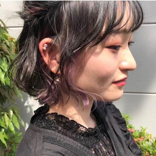 インナーカラーパープル ストリート ラベンダーグレージュ ボブ ヘアスタイルや髪型の写真・画像