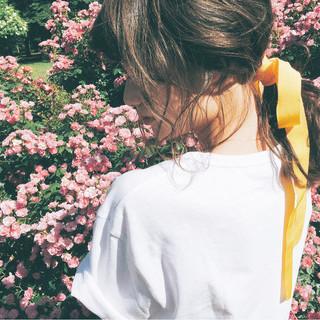 夏 簡単ヘアアレンジ ガーリー ヘアアレンジ ヘアスタイルや髪型の写真・画像