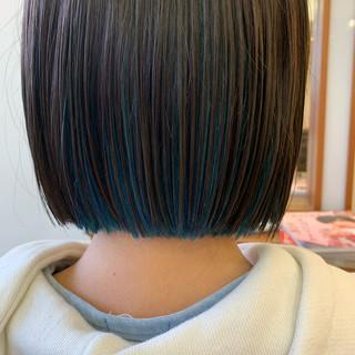 ボブ インナーブルー ナチュラル 大人可愛い ヘアスタイルや髪型の写真・画像 ヘアスタイルや髪型の写真・画像