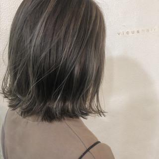ボブ グレージュ 外国人風カラー ロブ ヘアスタイルや髪型の写真・画像