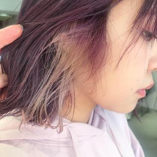 ハイライト モード インナーカラー 切りっぱなしボブ ヘアスタイルや髪型の写真・画像