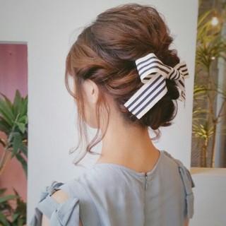 結婚式 セミロング 編み込み ヘアアレンジ ヘアスタイルや髪型の写真・画像