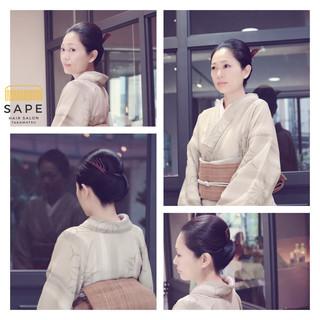ヘアアレンジ 和服 和装 セミロング ヘアスタイルや髪型の写真・画像