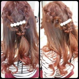 ハーフアップ 編み込み ヘアアレンジ ロング ヘアスタイルや髪型の写真・画像 ヘアスタイルや髪型の写真・画像