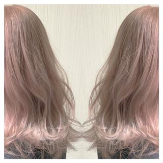 アンニュイほつれヘア ピンクベージュ セミロング 透明感カラー ヘアスタイルや髪型の写真・画像