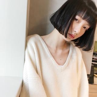 フェミニン ボブ 小顔 ニュアンス ヘアスタイルや髪型の写真・画像