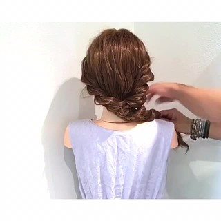 簡単ヘアアレンジ ヘアアレンジ 涼しげ ナチュラル ヘアスタイルや髪型の写真・画像