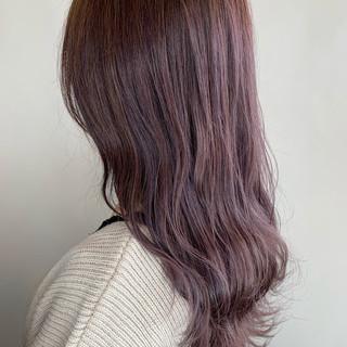 ラベンダーアッシュ エレガント ロング ラベンダーピンク ヘアスタイルや髪型の写真・画像
