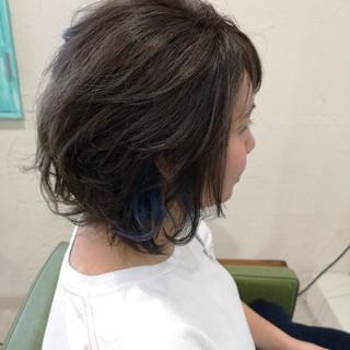 モード ボブ ブルージュ ブルー ヘアスタイルや髪型の写真・画像