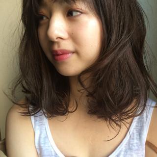 ウェーブ パーマ ロブ ミディアム ヘアスタイルや髪型の写真・画像