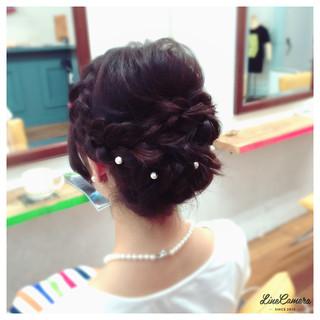 結婚式 編み込み ゆるふわ ヘアアレンジ ヘアスタイルや髪型の写真・画像