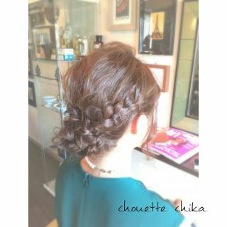 三つ編み 大人かわいい 波ウェーブ ヘアアレンジ ヘアスタイルや髪型の写真・画像