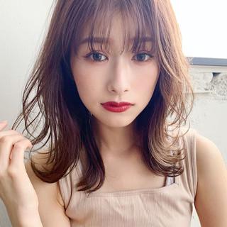 デジタルパーマ ひし形シルエット ミディアム 大人ミディアム ヘアスタイルや髪型の写真・画像