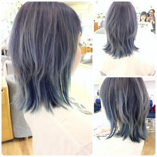 グレー 外国人風カラー ストリート パープル ヘアスタイルや髪型の写真・画像