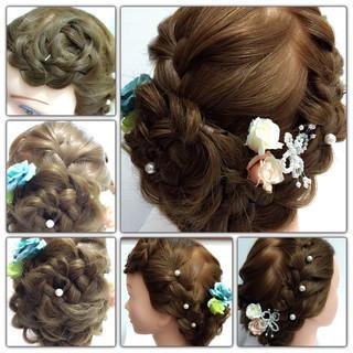 ブライダル くるりんぱ 編み込み 三つ編み ヘアスタイルや髪型の写真・画像