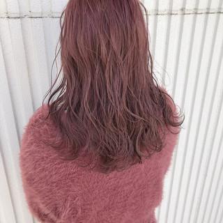 ピンク 簡単ヘアアレンジ ベリーピンク ガーリー ヘアスタイルや髪型の写真・画像