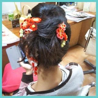 着物 成人式 ミディアム フェミニン ヘアスタイルや髪型の写真・画像