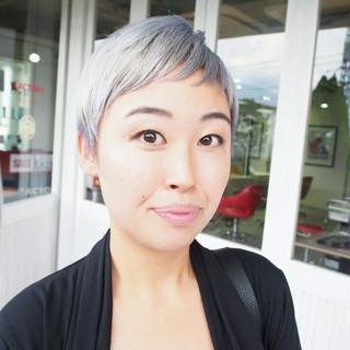 ホワイト ベリーショート モード ショート ヘアスタイルや髪型の写真・画像