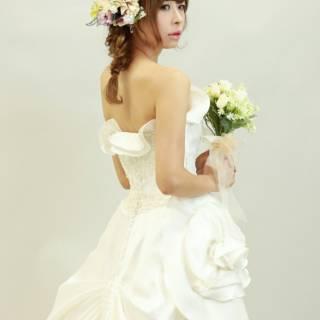 ミディアム 結婚式 ブライダル ナチュラル ヘアスタイルや髪型の写真・画像