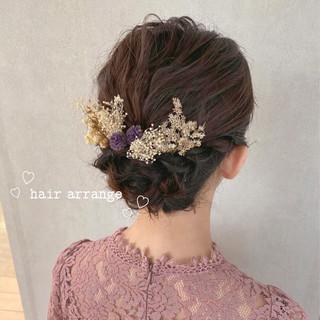 編み込み 結婚式ヘアアレンジ ヘアアレンジ ガーリー ヘアスタイルや髪型の写真・画像