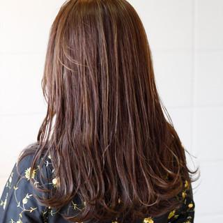 エレガント 大人ハイライト ロング ピンク ヘアスタイルや髪型の写真・画像