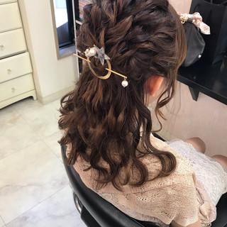 パーティ デート ヘアアレンジ セミロング ヘアスタイルや髪型の写真・画像