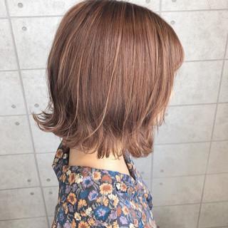 極細ハイライト イルミナカラー オレンジカラー ガーリー ヘアスタイルや髪型の写真・画像