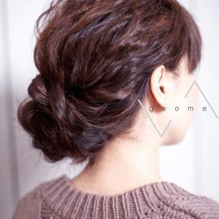 フェミニン ヘアアレンジ セミロング ヘアスタイルや髪型の写真・画像