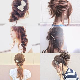 フェミニン ゆるふわ セミロング ヘアアレンジ ヘアスタイルや髪型の写真・画像 ヘアスタイルや髪型の写真・画像